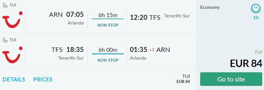last minute flights stockholm tenerife