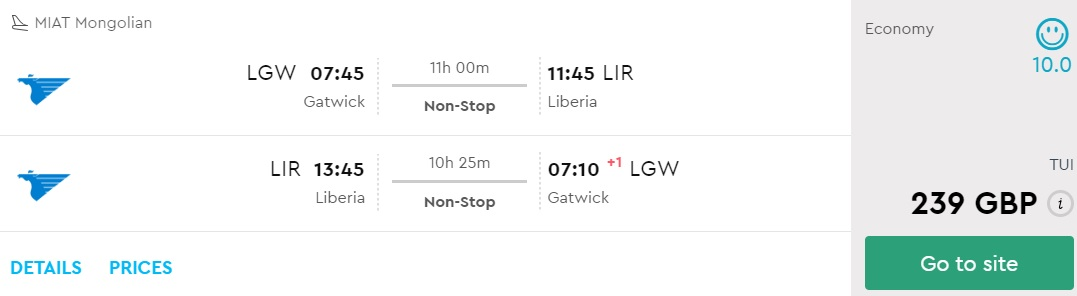 non stop flights from london to costa rica
