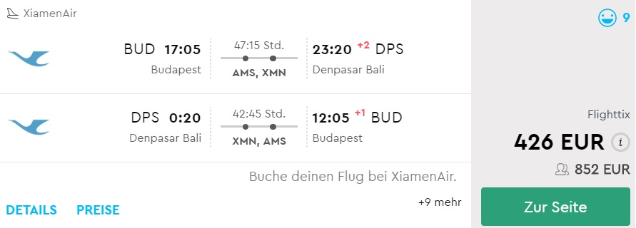 Cheap flight tickets from Budapest to BALI