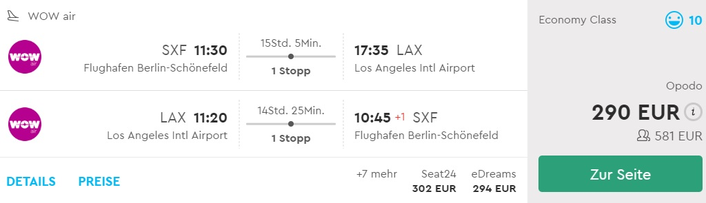 Cheap flights from Berlin to LOS ANGELES