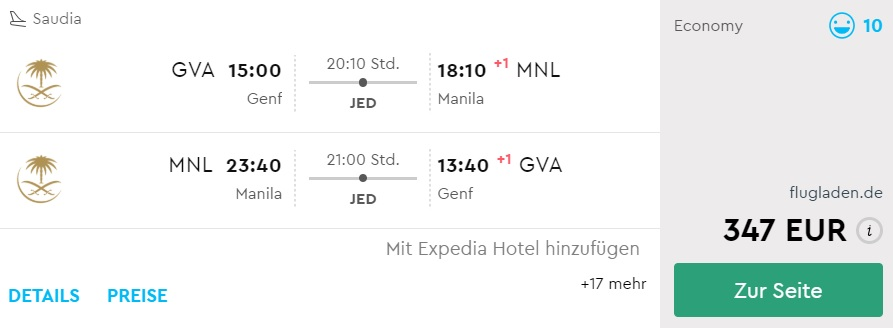 Flights from Geneva to the Philippines
