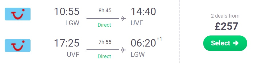 Non-stop flights from London to SAINT LUCIA
