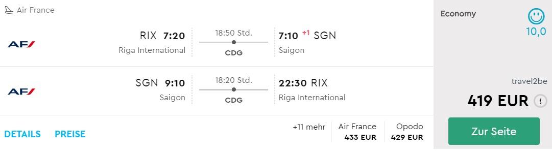 air france flights to vietnam from riga