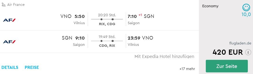 air france flights to vietnam from vilnius
