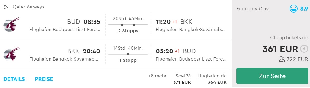 cheap flights from budapest to thailand qatar airways
