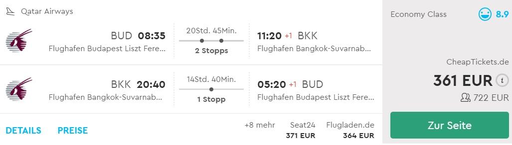 cheap flights from budapest to thailand qatar airways