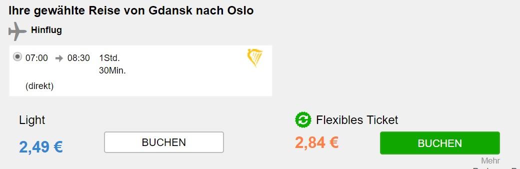 cheap flights gdansk oslo