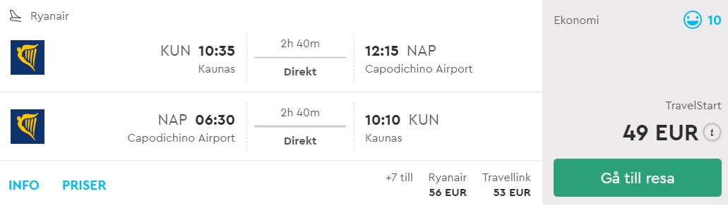 cheap flights lithuania naples
