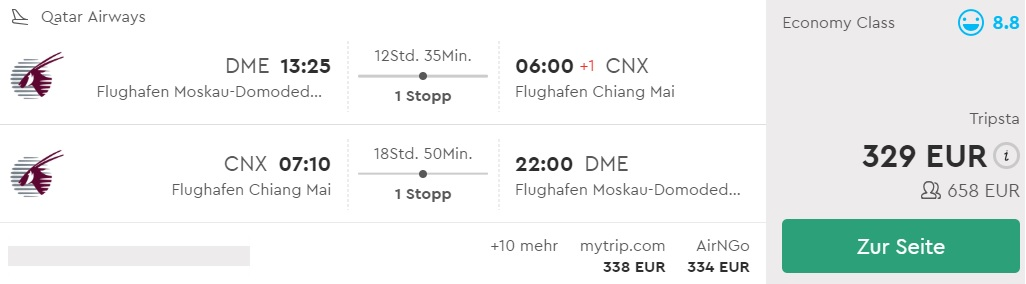 cheap flights moscow chiang mai thailand