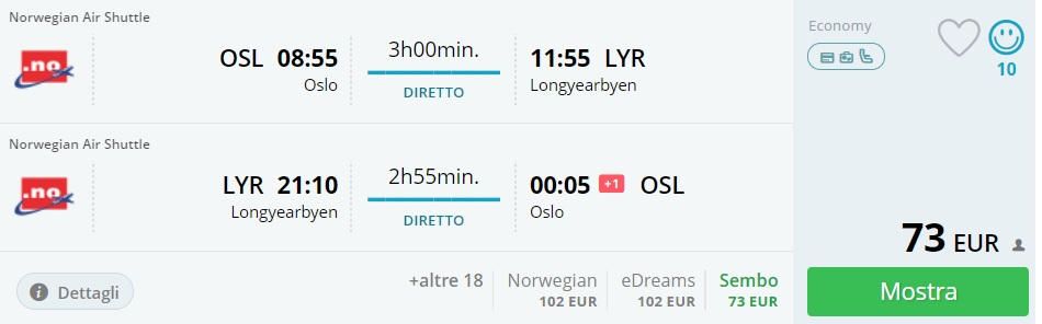 cheap flights oslo svalbard summer