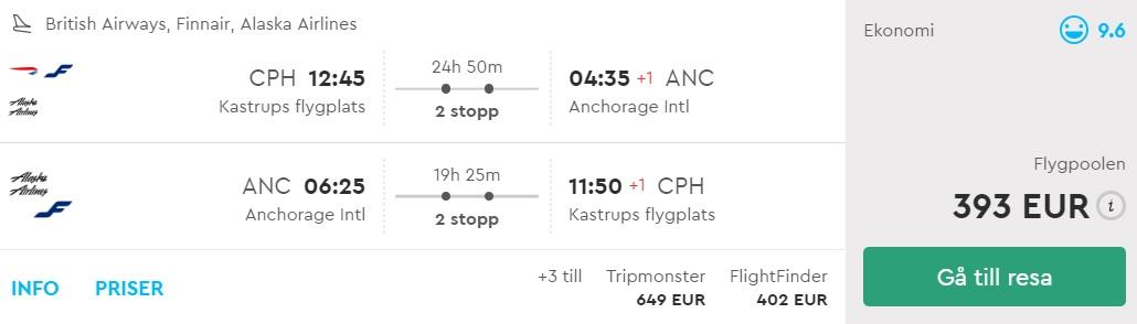 cheap flights to alaska from denmark