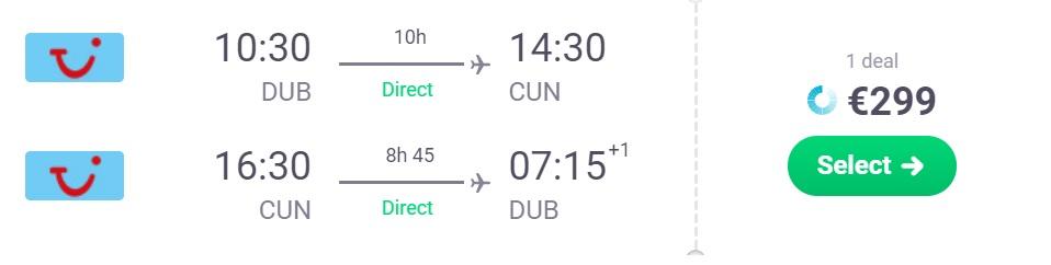 cheap non stop flights dublin cancun mexico