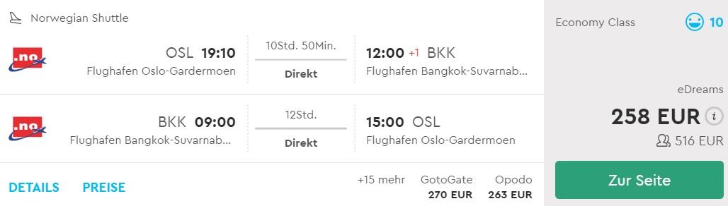cheap non stop flights oslo bangkok thailand norwegian