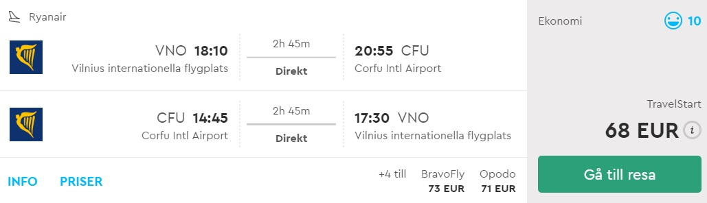 cheap summer flights vilnius corfu