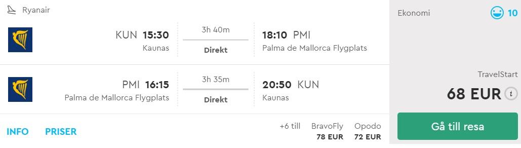 flight tickets to palma mallorca from kaunas lithuania