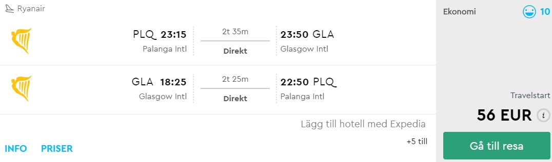 flights palanga lithuania scotland