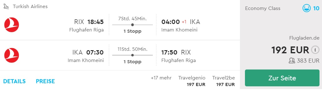 fly from riga to iran tehran