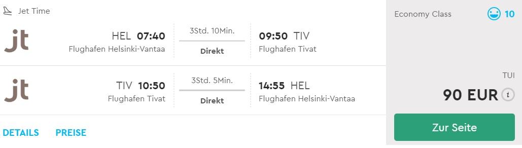 last minute direct flights helsinki montenegro