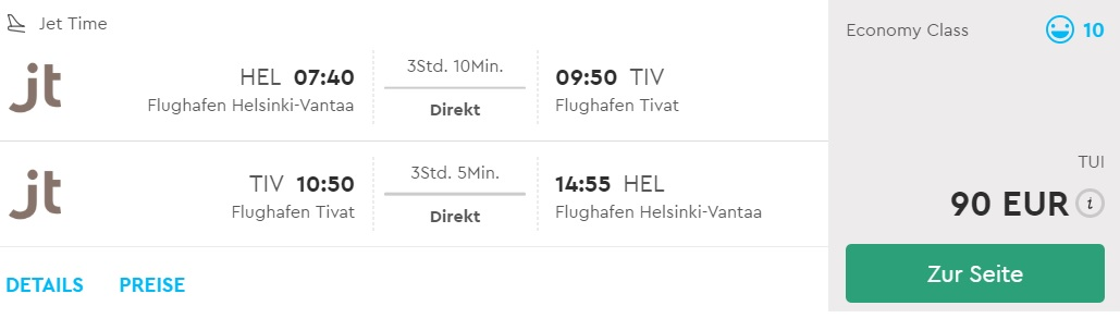 last minute direct flights helsinki montenegro