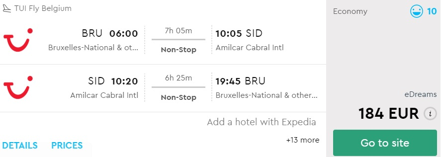 last minute flights from brussels to cape verde