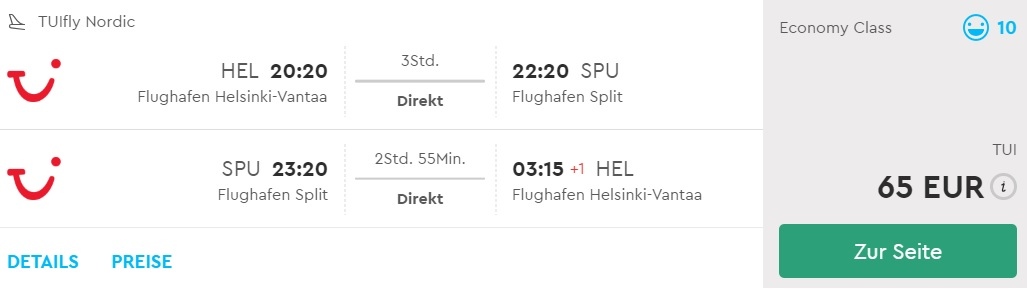 last minute flights helsinki split croatia