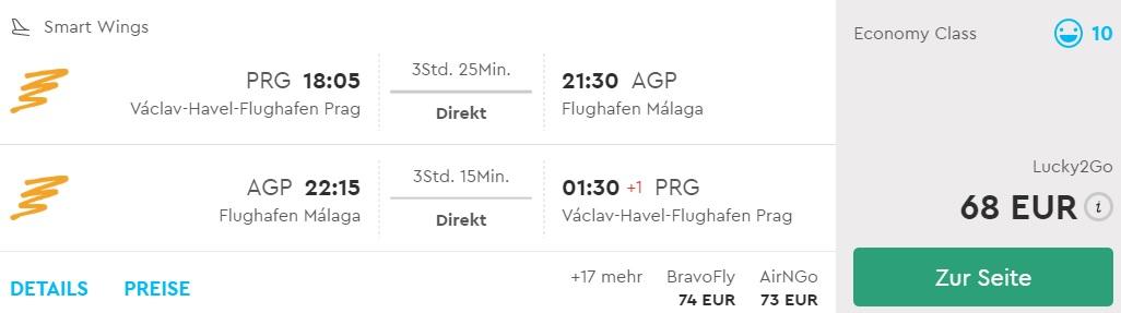 last minute flights prague malaga