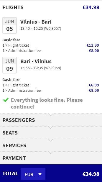 last minute flights to bari italy from lithuania