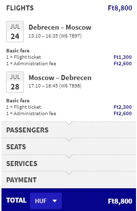 Cheap flights from Hungary to MOSCOW