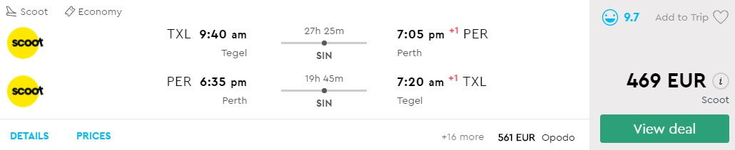 First Minute Flights from Berlin to PERTH Australia