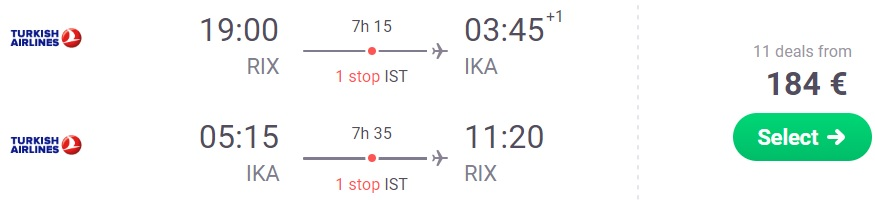 Fly from Riga to IRAN Tehran Turkish Airlines