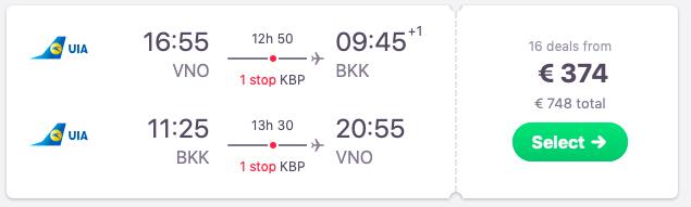 Flghts from Vilnius to Bangkok, Thailand