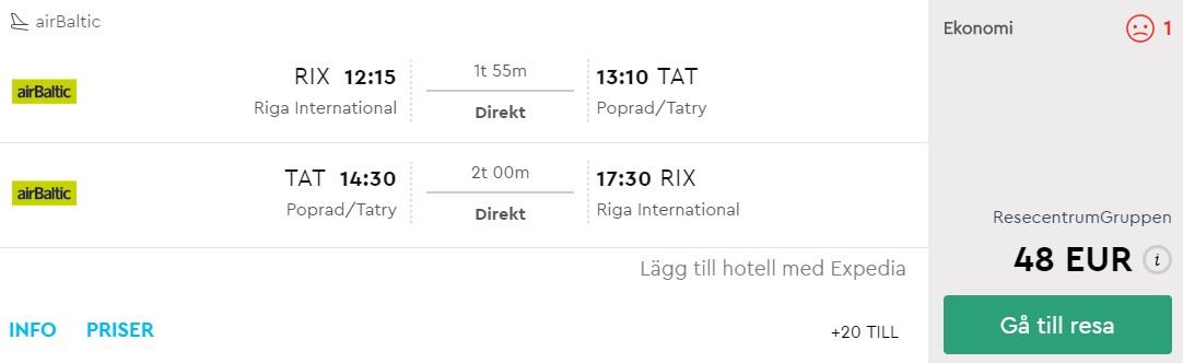 WINTER Cheap flights to TATRY from Latvia