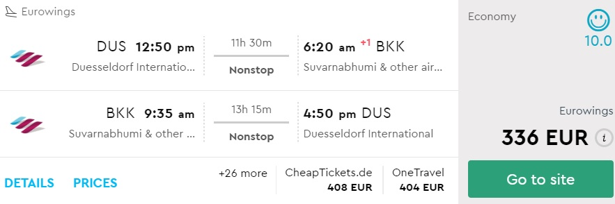 cheap direct flights dusseldorf bangkok thailand eurowings