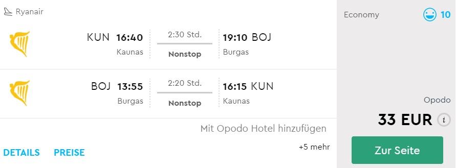 cheap direct flights from kaunas to burgas