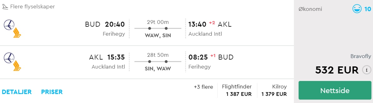 cheap flights budapest new zealand