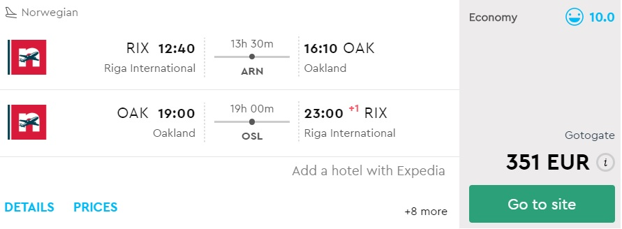 cheap flights from Riga to sanfrancisco norwegian