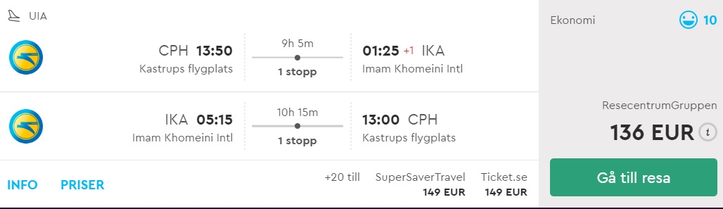 cheap flights from copenhagen to iran
