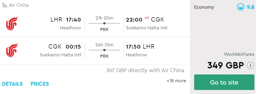 cheap flights from london to jakarta indonesia