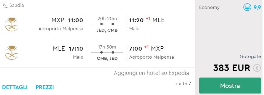 cheap flights from milan to maldives
