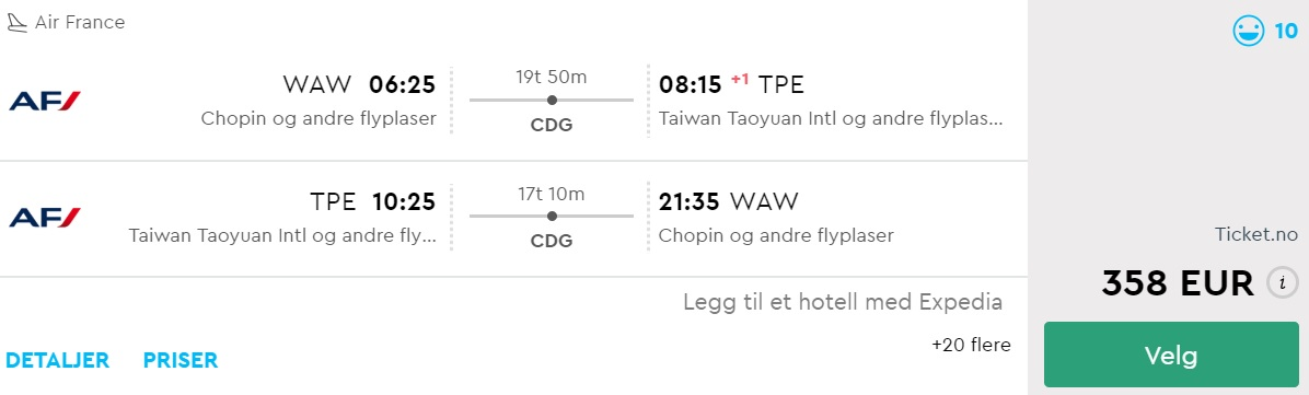 cheap flights from warsaw to taiwan