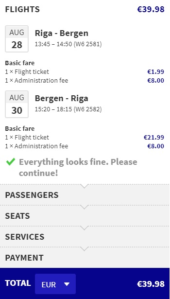 cheap flights riga bergen summer