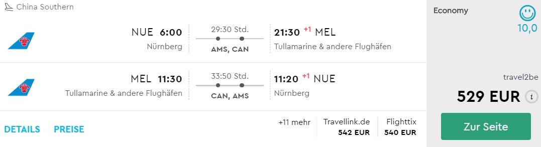 china southern flight nurnberg melbourne