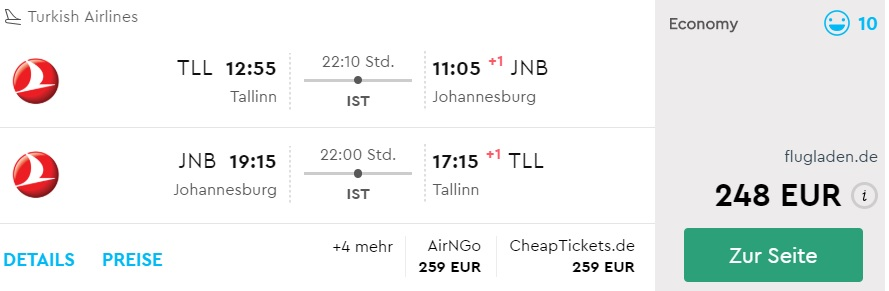 error fare cheap flights to south africa from tallinn