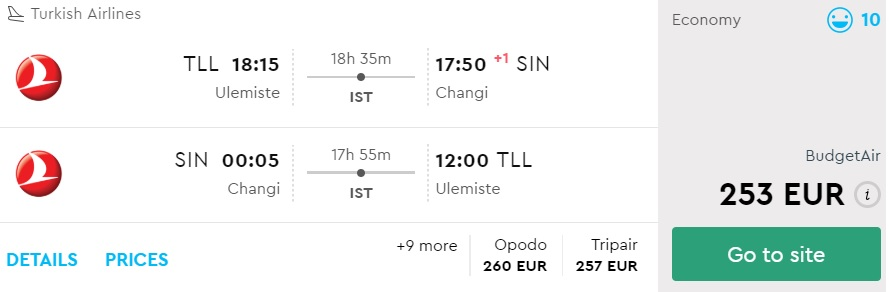 error fare flights from tallinn to singapore