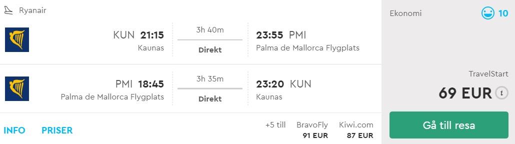 flight to palma mallorca from kaunas lithuania