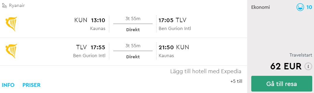 flights to israel tel aviv from lithuania