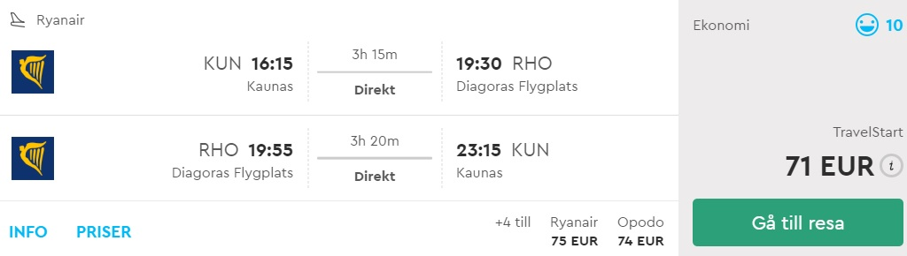 flights to rhodes from kaunas lithuania
