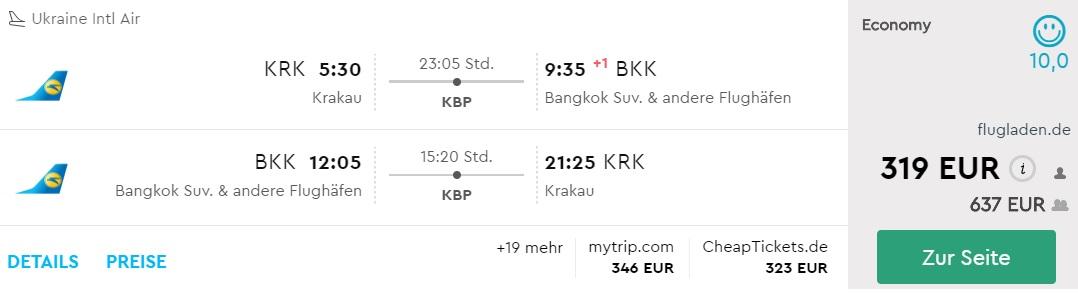 krakow bangkok flights