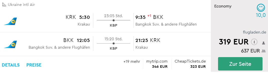 krakow bangkok flights