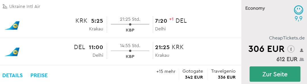 krakow delhi flights